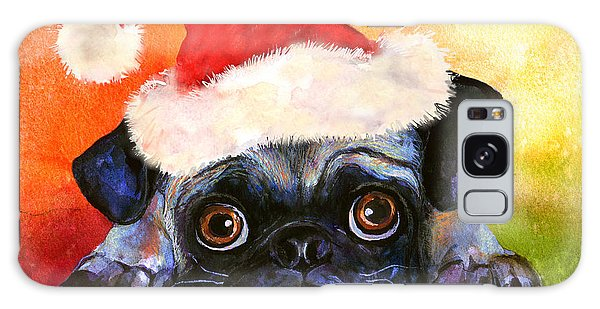 Watercolor Pet Portraits Galaxy Case - Pug Santa Portrait by Svetlana Novikova