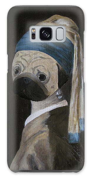 Girl With A Pearl Earring Galaxy Case - Pugmeer - Pug With A Pearl Earring. Pug. Dog Portrait by Yuliia Ustymenko
