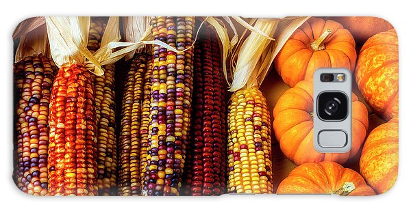 Indian Corn Galaxy Case - Pumpkins And Indian Corn by Garry Gay