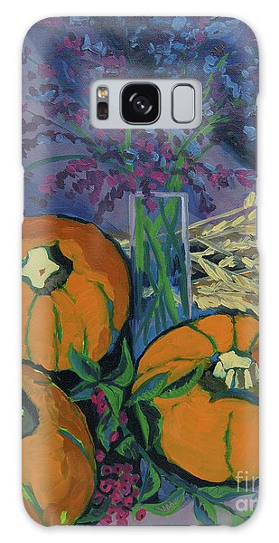 Galaxy Case featuring the painting Pumpkins And Wheat by Erin Fickert-Rowland