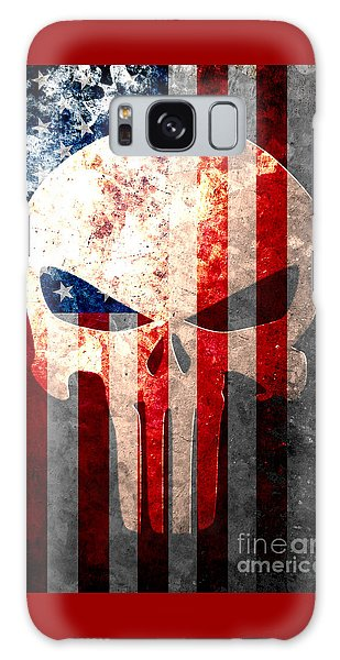 Punisher Themed Skull And American Flag On Distressed Metal Sheet Galaxy Case