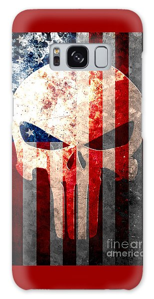 Punisher Skull And American Flag On Distressed Metal Sheet Galaxy Case