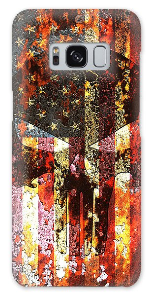 Punisher Skull On Rusted American Flag Galaxy Case