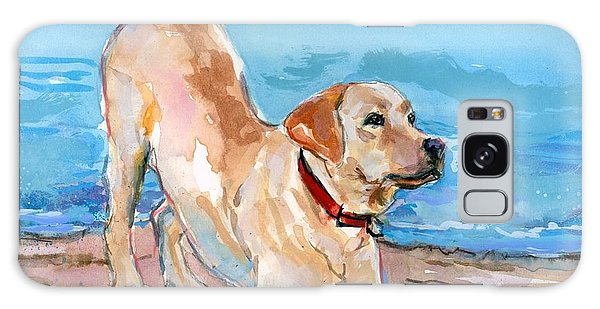 Puppy Pose Galaxy Case by Molly Poole