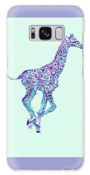 Purple And Aqua Running Baby Giraffe Galaxy Case by Jane Schnetlage