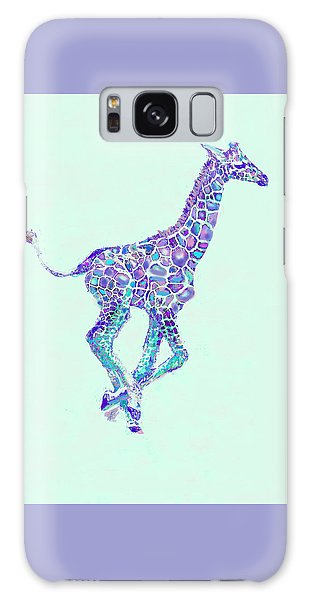 Purple And Aqua Running Baby Giraffe Galaxy Case