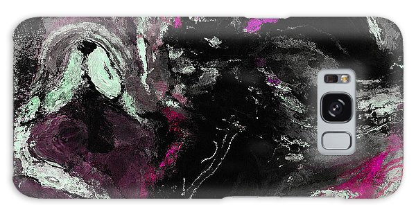 Purple And Black Minimalist / Abstract Painting Galaxy Case by Ayse Deniz
