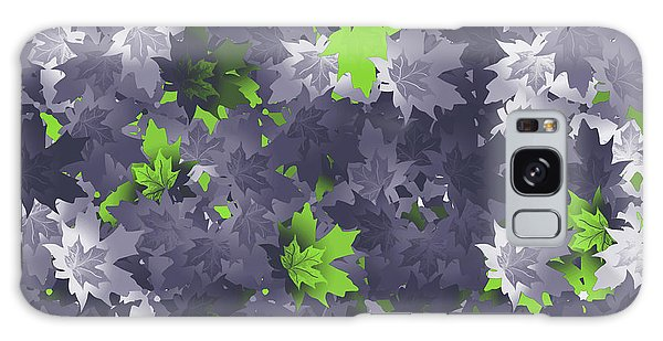 Purple And Green Leaves Galaxy Case by Methune Hively