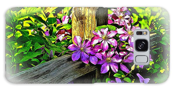 Purple Clematis On Split Rail Fence Galaxy Case by Dennis Lundell