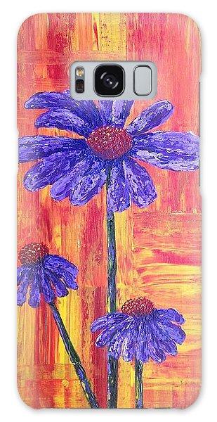 Purple Daisy Galaxy Case by T Fry-Green