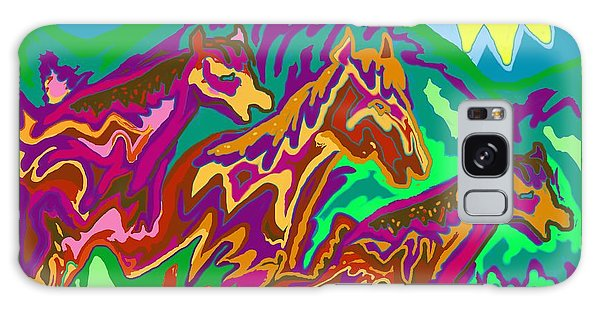 Purple Feathered Horses Galaxy Case