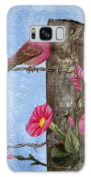 Purple Finch And Morning Glories Galaxy Case