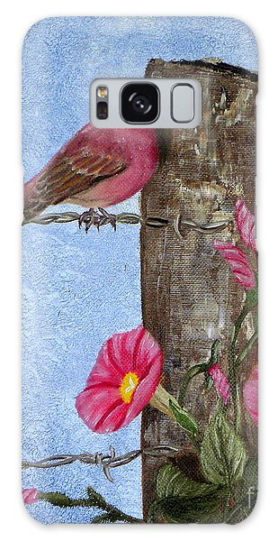 Purple Finch And Morning Glories Galaxy Case by Terri Mills