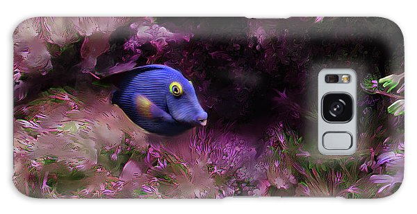Purple Fish In Pink Grass Galaxy Case