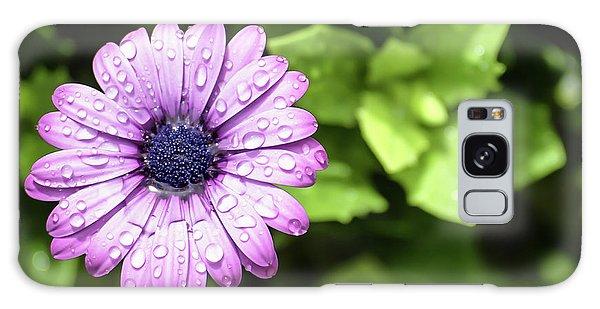 Purple Flower On Green Galaxy Case