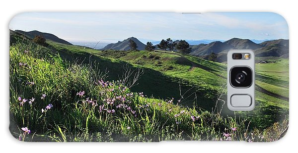 Galaxy Case featuring the photograph Purple Flowers And Green Hills Landscape by Matt Harang