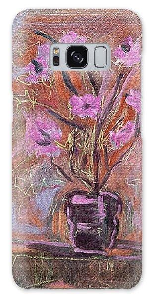Purple Flowers In Vase Galaxy Case