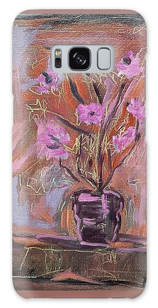 Purple Flowers In Vase Galaxy Case