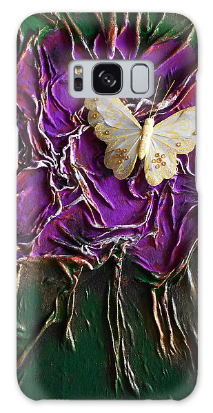 Purple Fowers With Butterfly Galaxy Case by Angela Stout