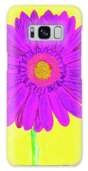Purple  Gerbera On Yellow, Watercolor Galaxy Case by Irina Afonskaya