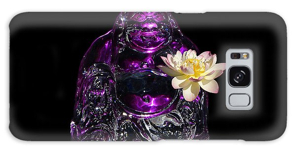 Purple Glass Buddah With Yellow Lotus Flower Galaxy Case