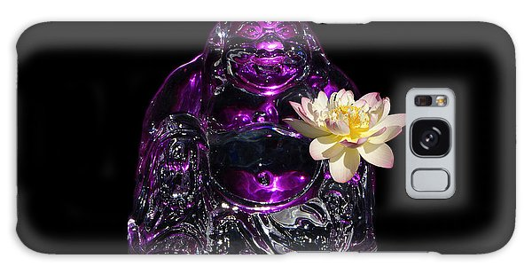 Purple Glass Buddah With Yellow Lotus Flower Galaxy Case by Gary Crockett