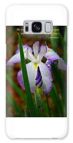 Purple Iris In Morning Dew Galaxy Case