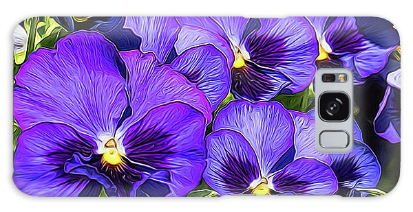 Purple Pansies In Morning Light Galaxy Case