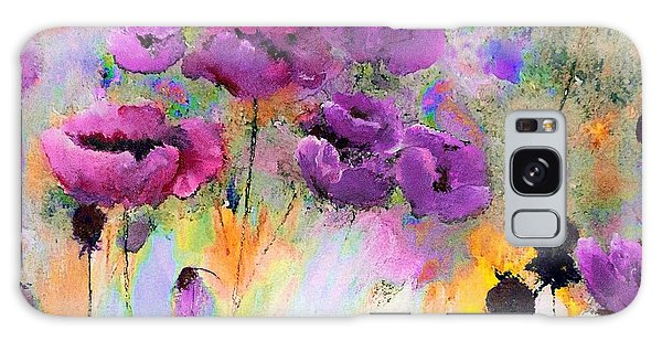 Purple Poppy Passion Painting Galaxy Case