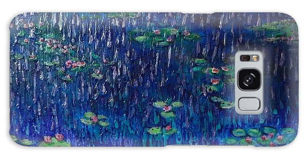 Purple Rain On Water Lilies Galaxy Case