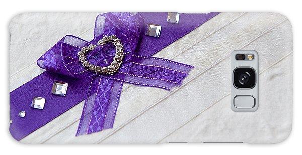 Purple Ribbon Heart Galaxy Case