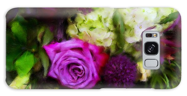 Purple Roses With Hydrangea Galaxy Case