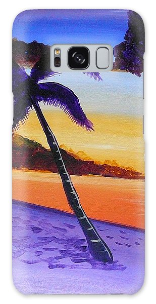 Purple Sand Palm Tree Galaxy Case
