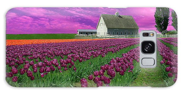 Purple Tulips With Pink Sky Galaxy Case