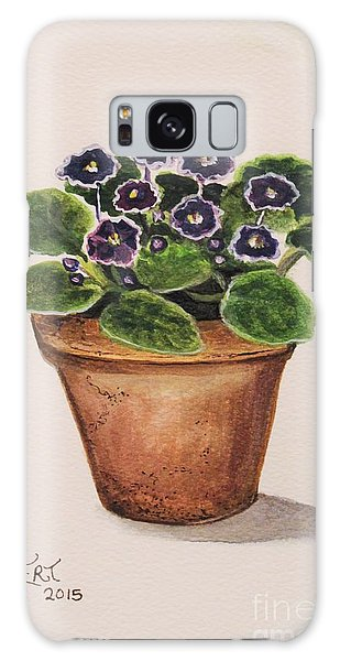 Purple Violets Galaxy Case by Elizabeth Robinette Tyndall
