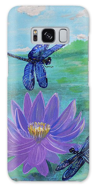 Purple Water Lily And Dragonflies Galaxy Case