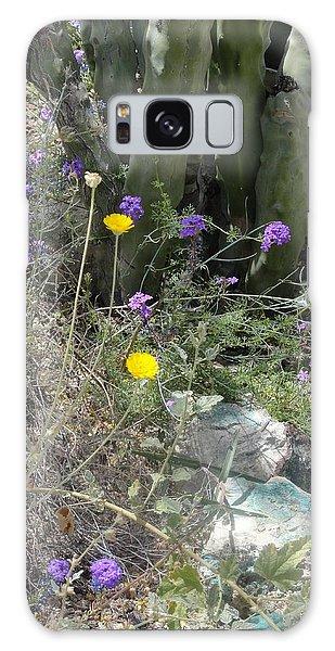 Purple Yellow Flowers Green Cactus Galaxy Case