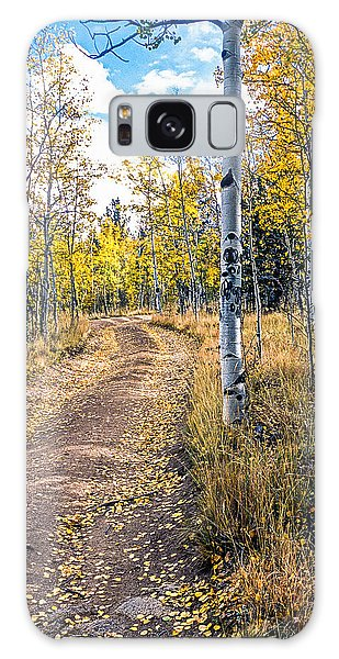 Aspens In Fall With Road Galaxy Case by John Brink