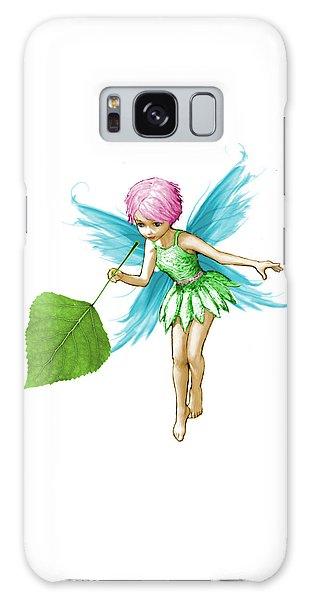 Quaking Aspen Tree Fairy Holding Leaf Galaxy Case