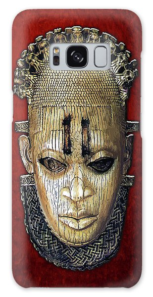 Queen Mother Idia - Ivory Hip Pendant Mask - Nigeria - Edo Peoples - Court Of Benin On Red Velvet Galaxy Case