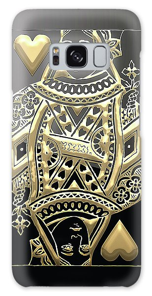 Queen Of Hearts In Gold On Black Galaxy Case