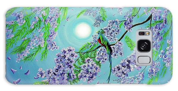 Central America Galaxy Case - Quetzal Bird In Jacaranda Tree by Laura Iverson