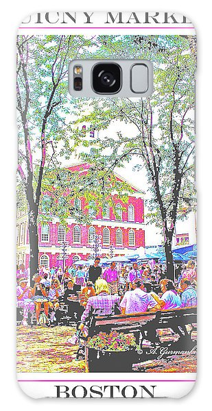 Quincy Market, Boston Massachusetts, Poster Image Galaxy Case
