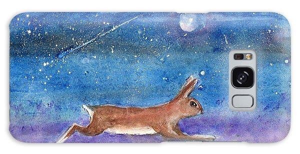 Rabbit Crossing The Galaxy Galaxy Case by Doris Blessington