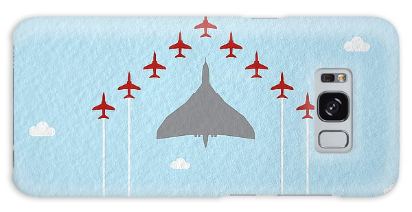 Fighter Galaxy Case - Raf Red Arrows In Formation With Vulcan Bomber by Samuel Whitton
