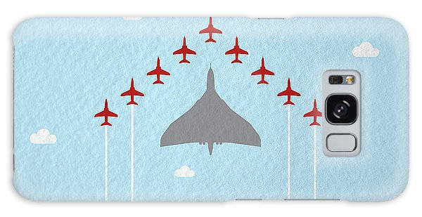 Hawk Galaxy Case - Raf Red Arrows In Formation With Vulcan Bomber by Samuel Whitton