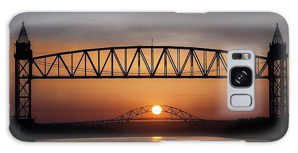 Railroad Bridge Framing The Bourne Bridge During A Sunrise Galaxy Case