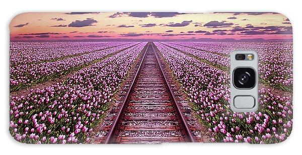Railway In A Purple Tulip Field Galaxy Case