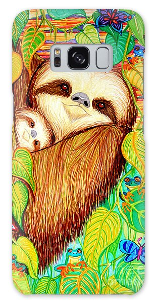 Rain Forest Survival Mother And Baby Three Toed Sloth Galaxy Case