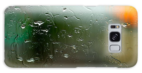 Cold Day Galaxy Case - Rain Soaked Glass Window by Todd Klassy
